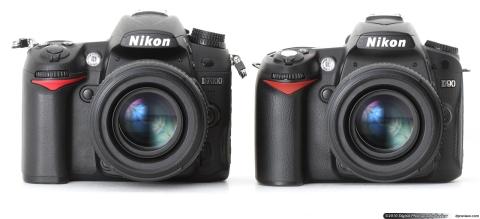 perbandingan antara D7000 (kiri) dan D90 (kanan)