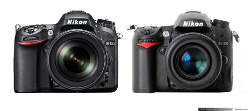 D7100 (kiri) dan D7000 (kanan), tidak banyak berubah yang berari pengoperasiannya sama mudahnya